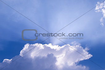 Beautiful Blue Sky with Sun Rays