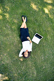 Businesswoman on grass