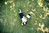 Resting on grass
