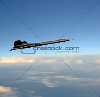 Supersonic fighter jet at high altitude