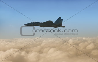 Jet fighter at high altitude
