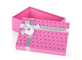 Opened pink gift box with ribbon and bow