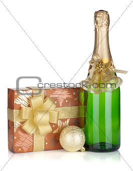 Champagne bottle, christmas gift box and decor