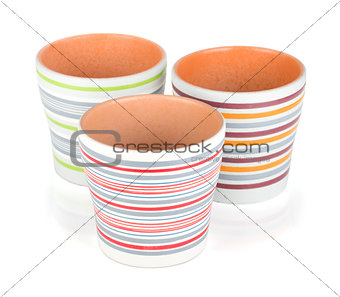 Three flower pots