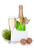 Champagne bottle, glasses and empty card