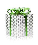 Christmas gift box with green ribbon