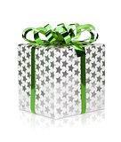 Christmas gift box with green ribbon
