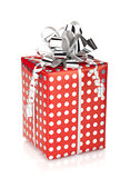 Red gift box with silver ribbon