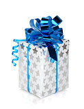 Silver gift box with blue ribbon