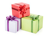 Colorful gift boxes with ribbon and bow