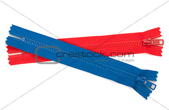 Blue and red zippers