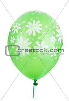 Green balloon with flower decoration