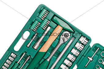 Tools in toolbox. Closeup