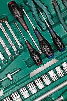 Tools in toolbox. Closeup