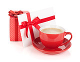 Red coffee cup, gift box and love letter with bow