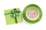 Green coffee cup and gift box with bow