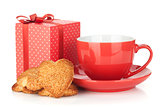 Red coffee cup and heart shaped cookies and gift box