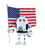 Android Robot with standing American flag