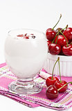 Yogurt and sweet cherry