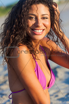Beautiful Laughing Bikini Woman At Beach