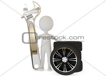 3d humanoid character with wrench and wheels