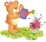 Teddy Bear Watering Flowers