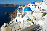 Santorini Greece Oia Village Blue Church Dome Architecture Caldera View