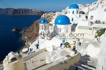 Santorini Greece Oia Village Blue Church Dome Architecture Caldera View