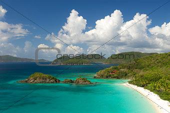Bright Caribbean Beach Overlook Virgin Islands Horizontal