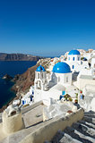 Santorini Greece Oia Village Blue Church Dome Steps