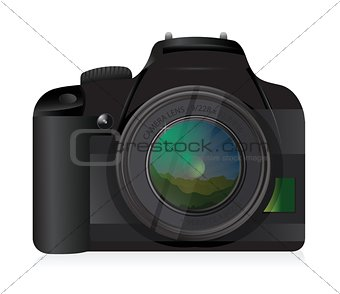 camera with landscape scene on its lens.