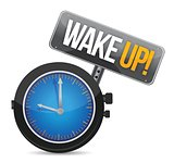 clock with the text wake up illustration