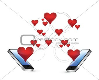 smartphones and hearts communication concept