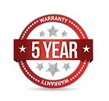 five year warranty seal illustration design
