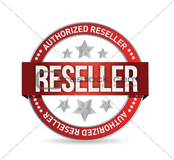 Authorized reseller seal stam illustration design