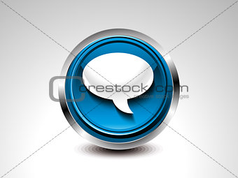 abstract blue glossy chat button