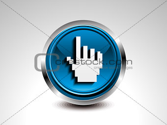 abstract blue glossy hand cursor button