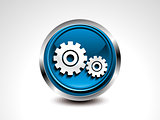 abstract blue glossy settings button