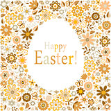 golden egg floral pattern card for easter