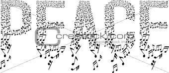 musical notes in peace