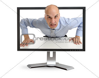 Angry boss screaming through the computer monitor