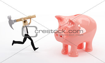 Businessman about to break his piggy bank with a hammer