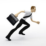 Running businessman with a briefcase