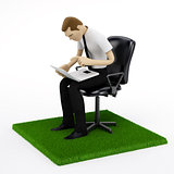 Young businessman with a laptop in chair on the piece of green field