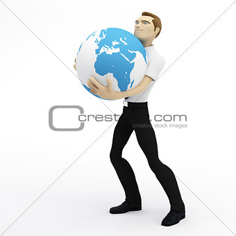 3D businessman holding lhuge earth globe