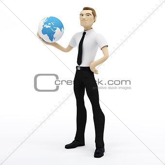 3D businessman holding earth globe on his hand