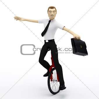 Businessman balancing on unicycle. Conceptual business illustration