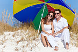 Man Woman Couple Sunglasses Multi Colored Beach Umbrella