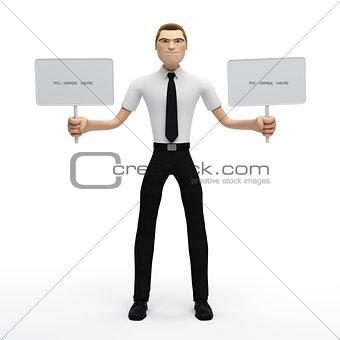 3D Businessman holding a blank sign