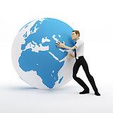 3d businessman pushing earth globe